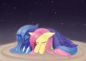 Weekly art#71 Luna Fluttershy good night rerendere by HowXu