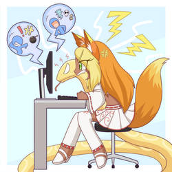 Commission Jasmine playing online game by HowXu