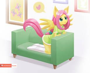 Fluttershy in a sofa by HowXu
