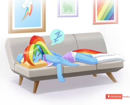 Rainbow Dash on a sofa