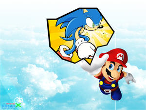 Mario and Sonic by darkevil