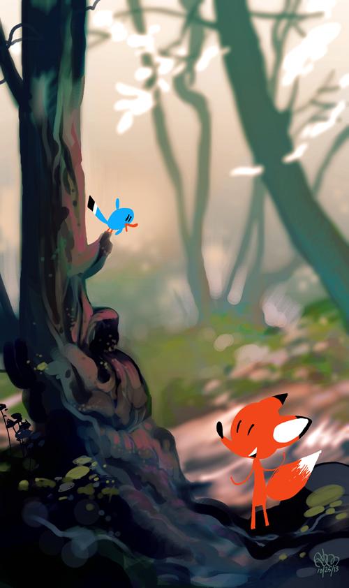Fox and Bird by StephenMcCranie