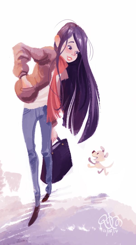 Girl and Puppy by StephenMcCranie