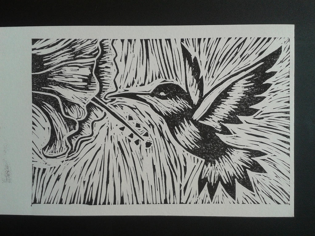Lino-colibri by L0v3ly
