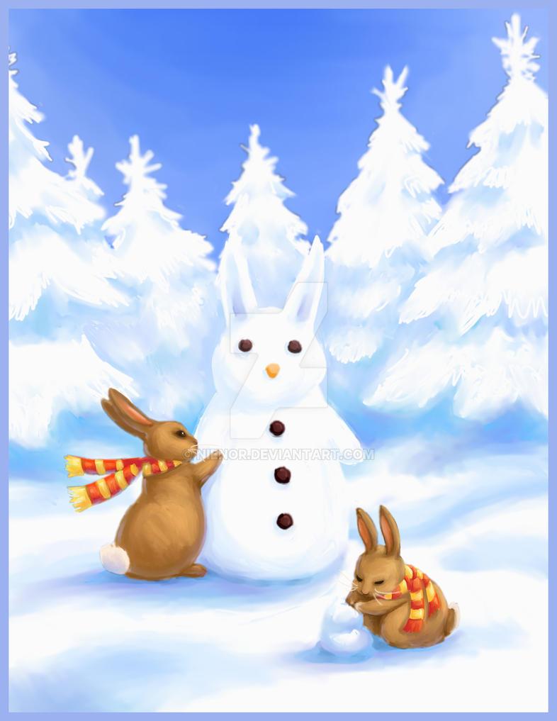Bunny snow party by nienor