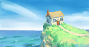 House on a cliff by the sea