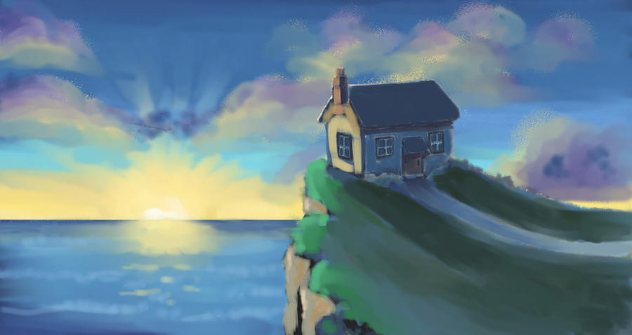 House at sunset by nienor