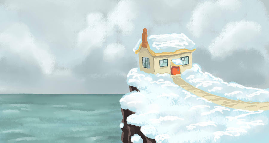 House in snow by nienor
