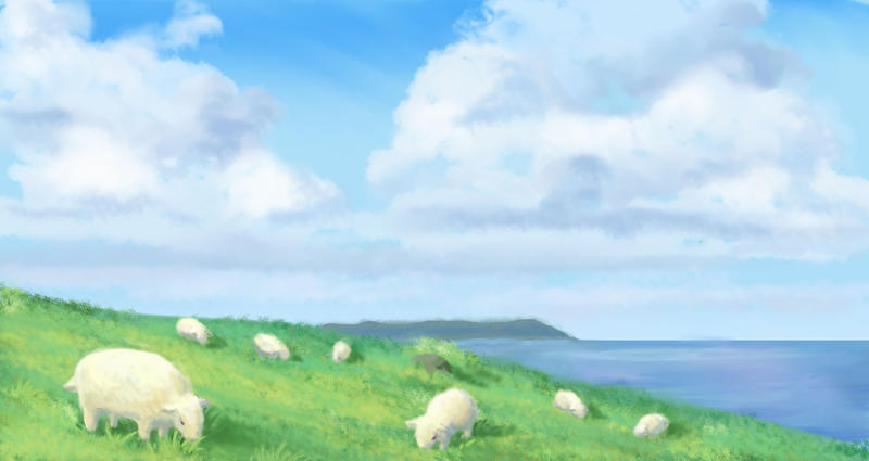 Sheep on a Hill By the Sea by nienor