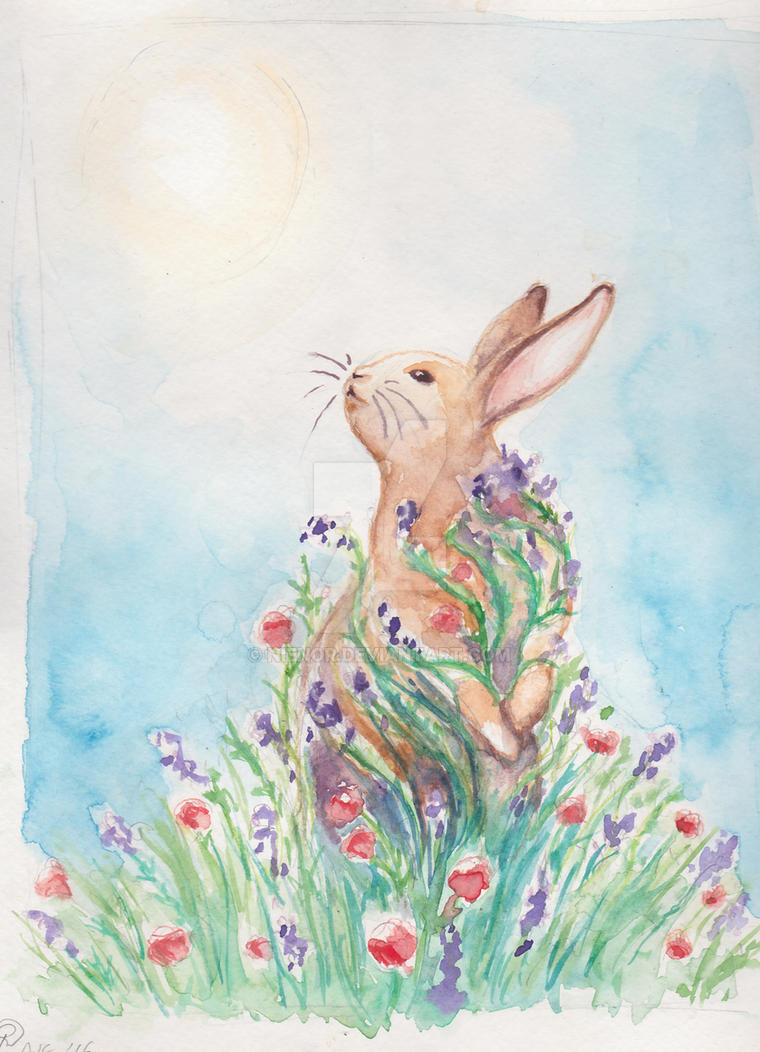 Watercolor spring bunny by nienor