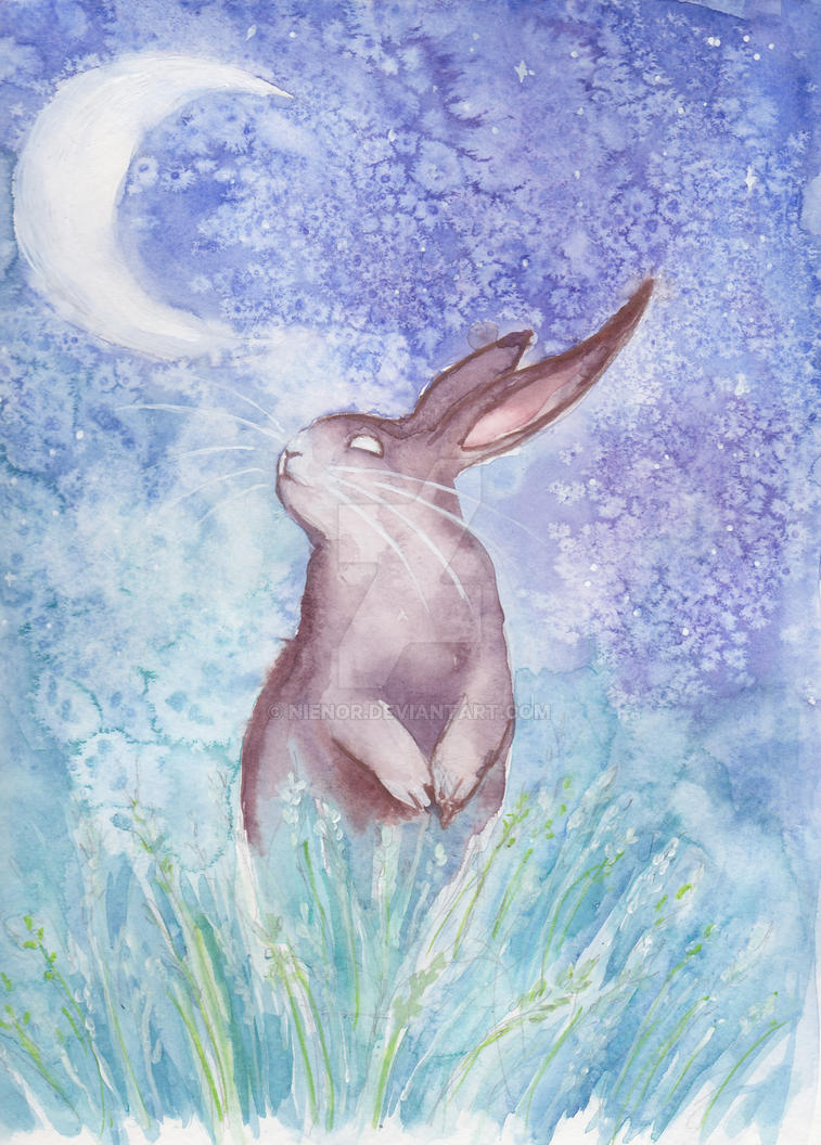 Watercolor moon bunny by nienor