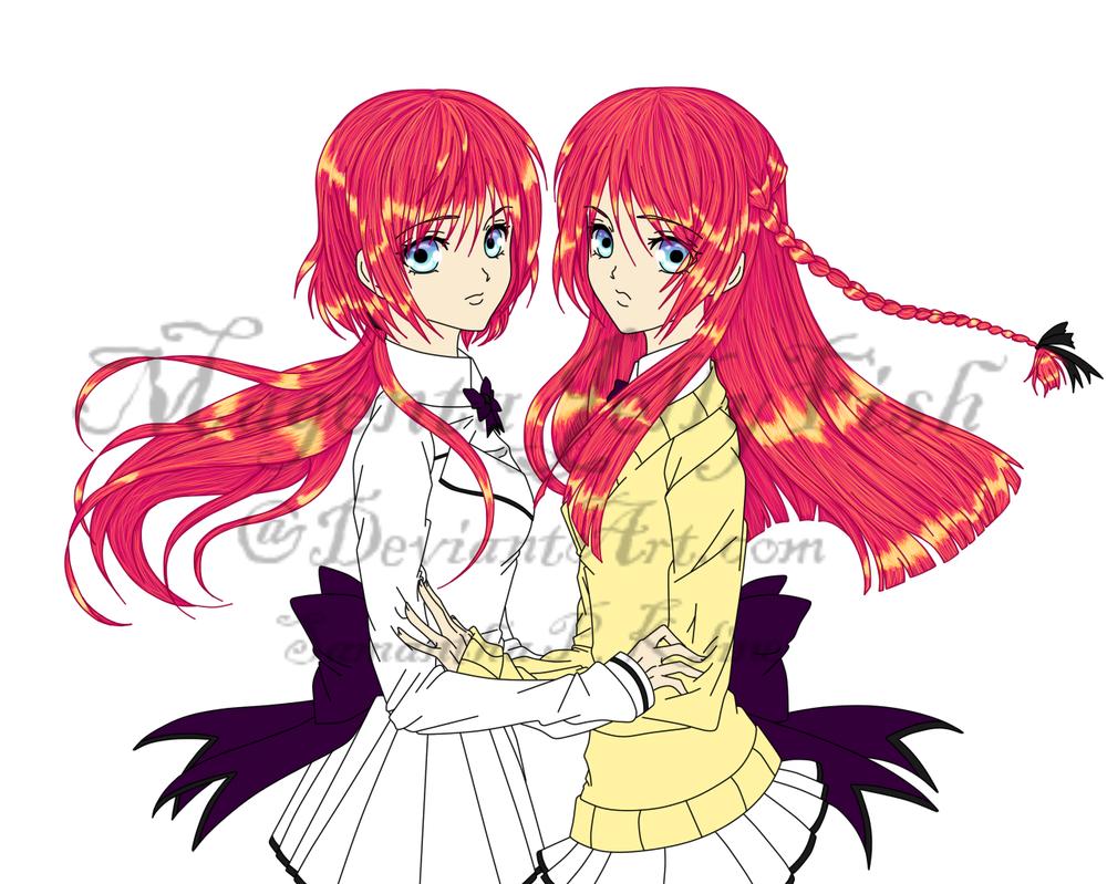 Wakaouji Amu and Akane by MagentaJellyfish