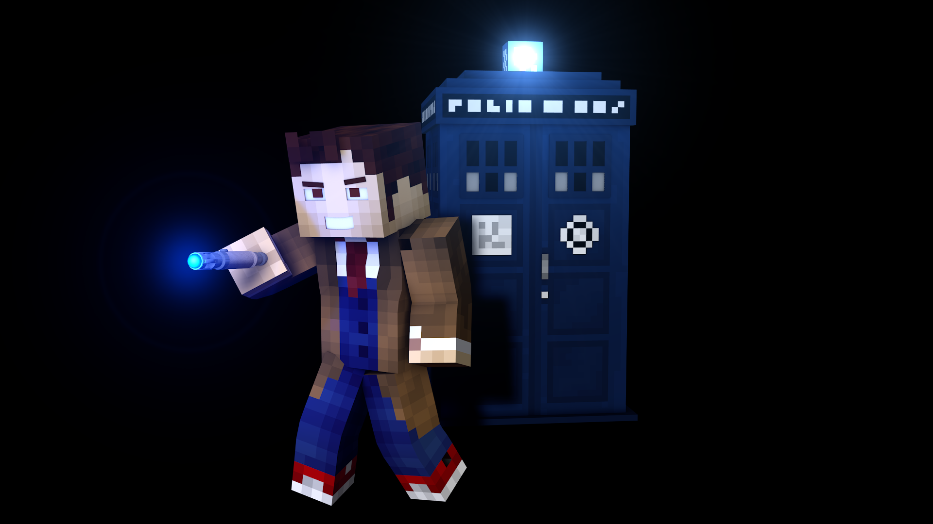 10th doctor with tardis minecraft render by