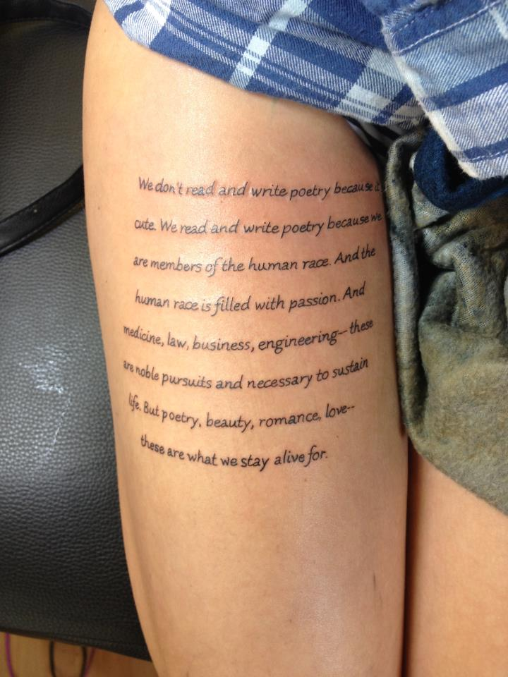 poem i tattooed from the dead poets society by. Black Bedroom Furniture Sets. Home Design Ideas