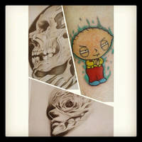 mixed collage of my drawings and tattoo by nathanhamilton89