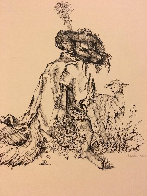 wolf turned sheppard  by cayotze