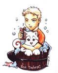 Diefenbaker takes a bath