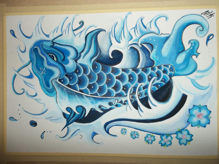 Blue koi by yessica83 on deviantart for Blue koi fish tattoo