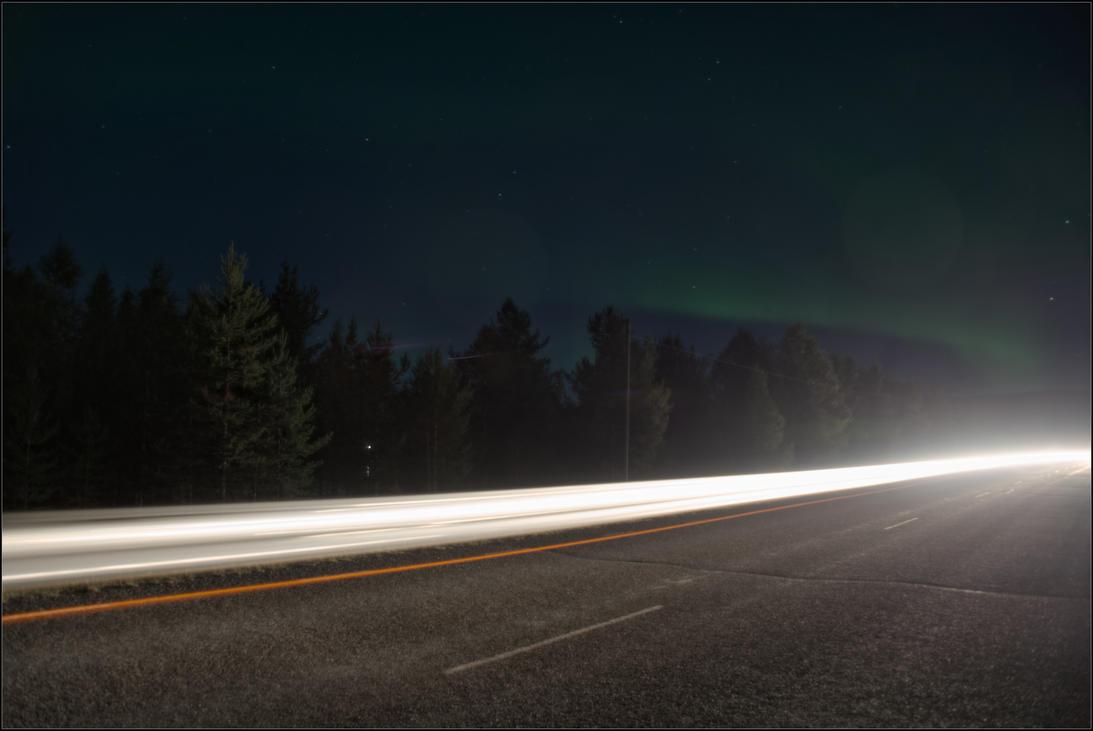 Aurora over the night highway by NikolaiMalykh