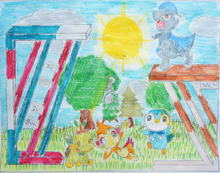 The Sinnoh Starters and two Partners by Puswi