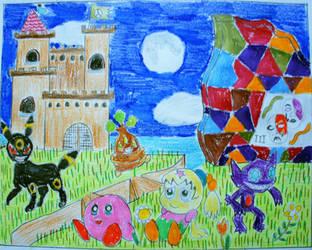 Kirby, Tiff and Pokemon Enchanted Scene by Puswi