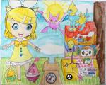 Kagamine Rin and six Pokemon!! by Puswi