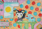 Emolga and Phanpy Colouring Scene by Puswi