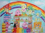 Kirby, Tiff and Pokemon Friends Colourful Scene