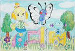 Isabelle, Butterfree and Wooper by Puswi