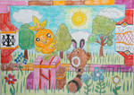 Torchic and Sentret Cheerful Scene by Puswi