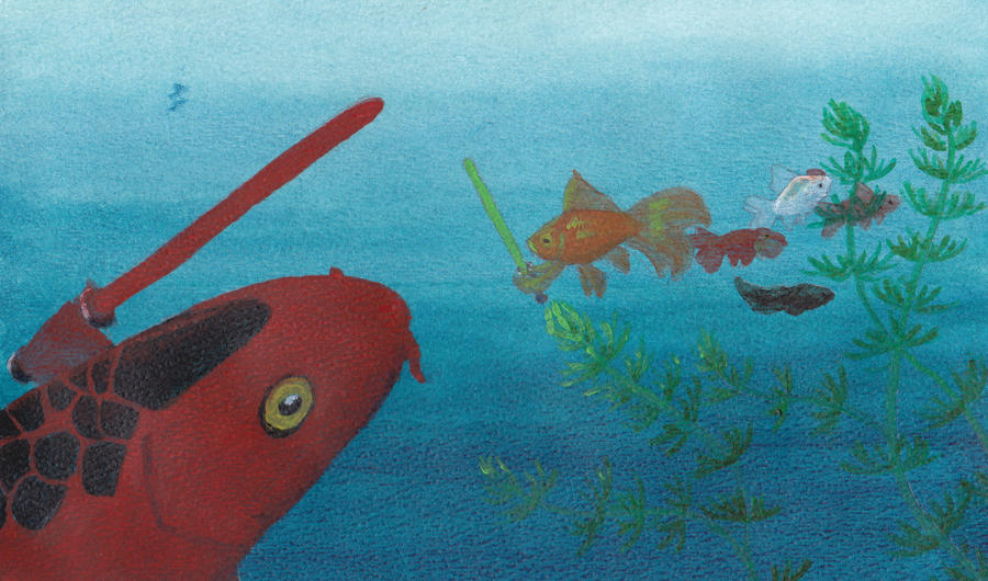 Jedi goldfish vs darth koi by eehills on deviantart for Koi vs goldfish