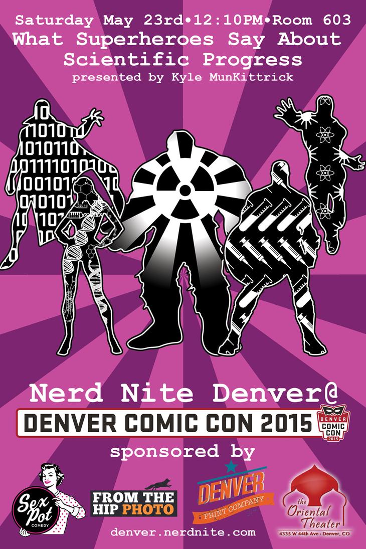 Denver Comic Con 2015: Nerd Nite Superheroes flyer by ElKinesis