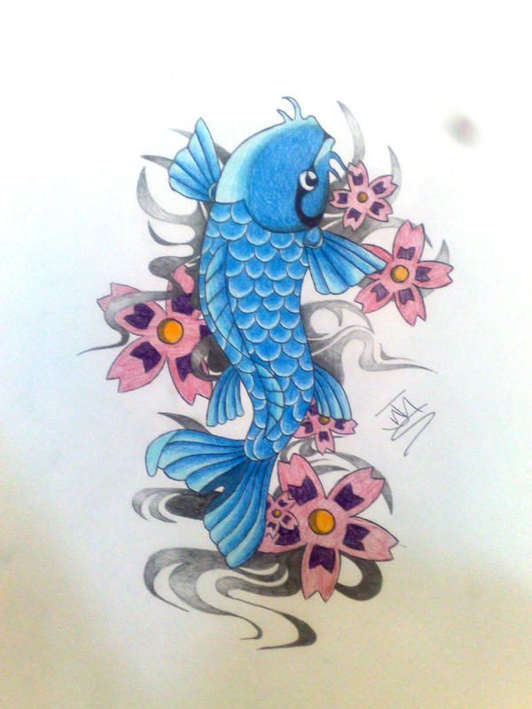 My first koi carp by tattoobassist on deviantart for Blue coy fish tattoo