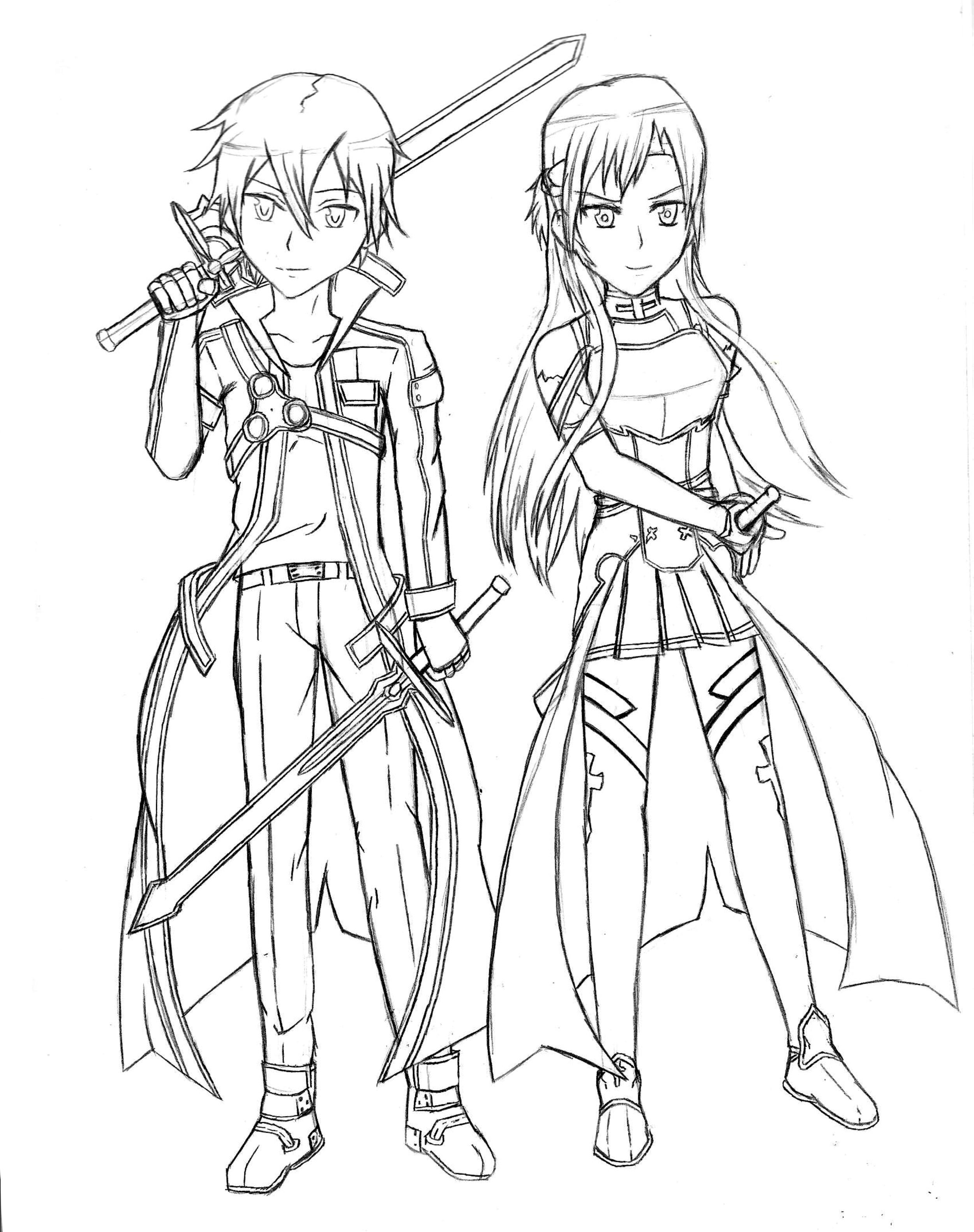 Sword Art Online Kirito and Asuna Coloring Pinterest Chibi ... | 3163x2500