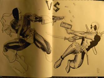Deadpool vs Deathstroke by integralsmatic