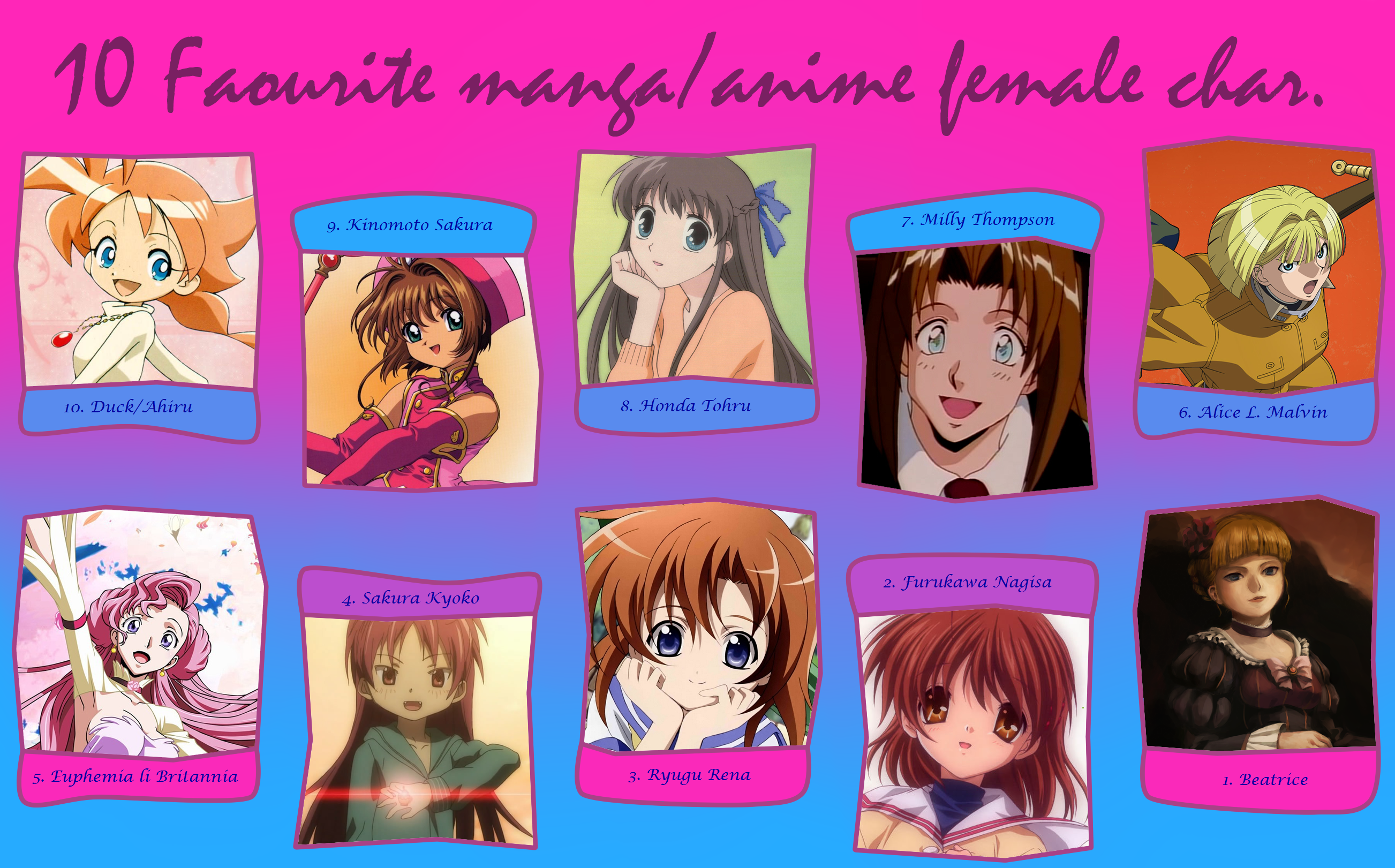 My Top 9 Favorite Female Anime/Manga Characters by