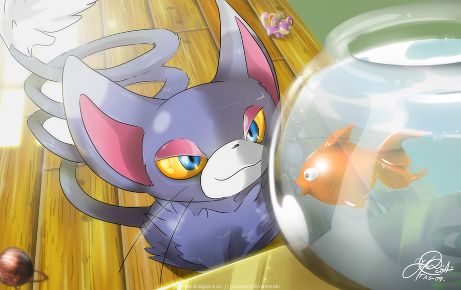 Glameow thinks Lunch by super-tuler