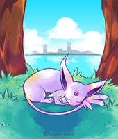 Napping Espeon by super-tuler