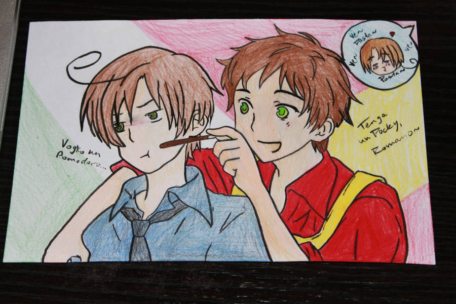 Romano and Spain: Pocky by Grimm-Kitty666 on DeviantArt