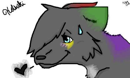 My OC's Wolf form-Ketsuki by Yenashia
