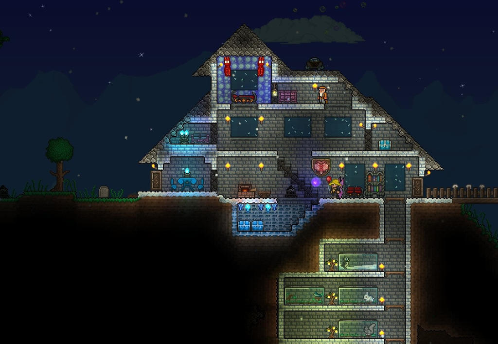 Snowy little house in terraria by brysiaa on deviantart for Terraria house designs