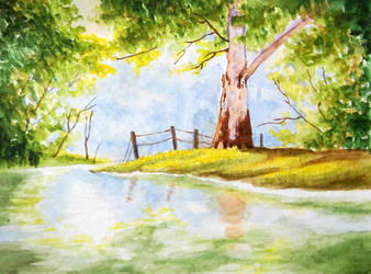 Watercolor Tree Landscape