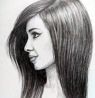 Pretty woman with long brown hair by Brysiaa