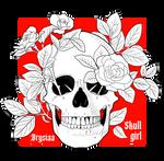Skull Girl - white roses by Brysiaa