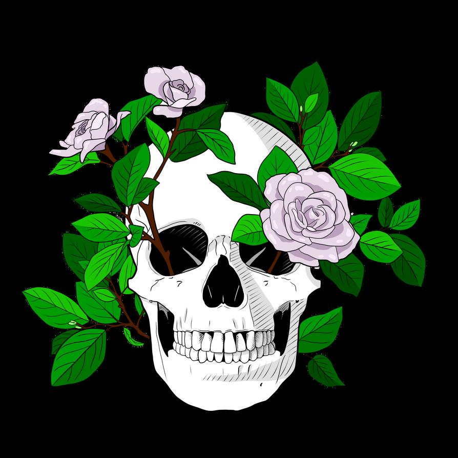 Skull Girl - white roses (coloful)