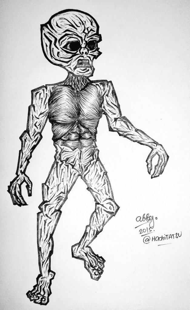 Inktober/Drawlloween 2015 DAY10: Alien by HachiTATSU