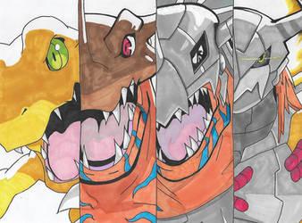 Digimon - Agumon Digivolution by Singingartist1234