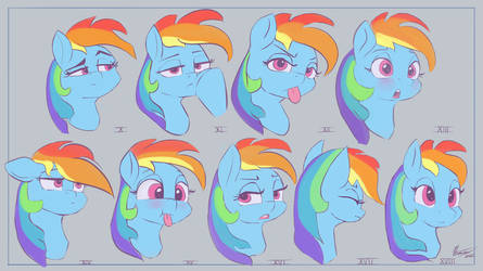 Rainbow Dashie expressions,