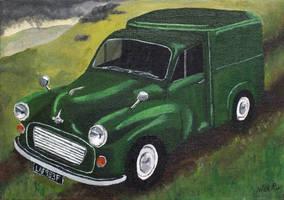 Green Morris Minor Van