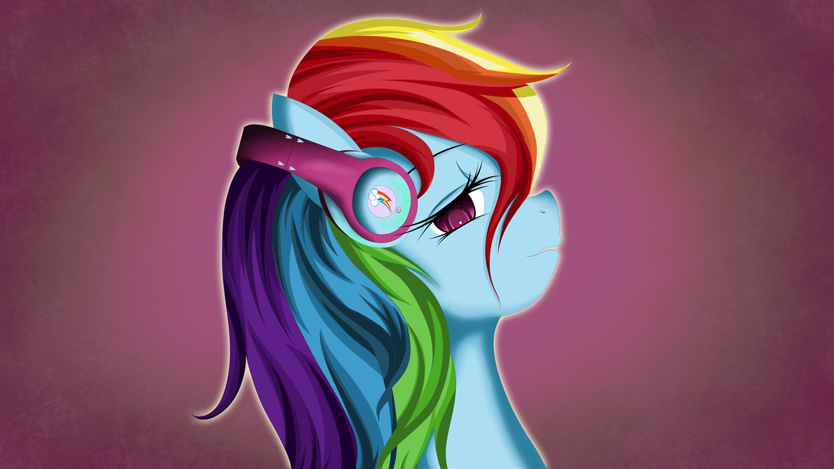 Rainbow Dash Headphones by Skardan